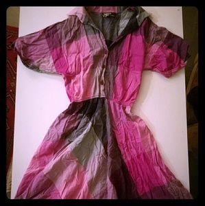 Dresses & Skirts - Pink & Blue plaid light collared summer dress